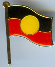 Aboriginal Flag (Souvenir Style)  1500mm x 750mm - lightweight polyester (tab end - no hem) not suitable for flagpole  made in Australia under License  Price:  $60.00 each