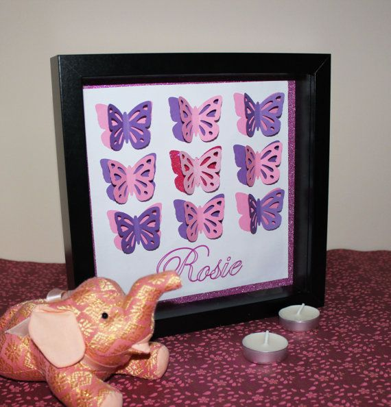 3D Personalised Butterfly Wall Art Picture Box Frame, Gift For Her, Girl's Bedroom, Nursery, Butterflies, Baby Girl, Christening, Girl #forher #giftforher #gifts #giftideas #mothersday #motherdaysgift #handmade #nursery #butterfly #butterflies #girls #babygirl #personalised #personalized