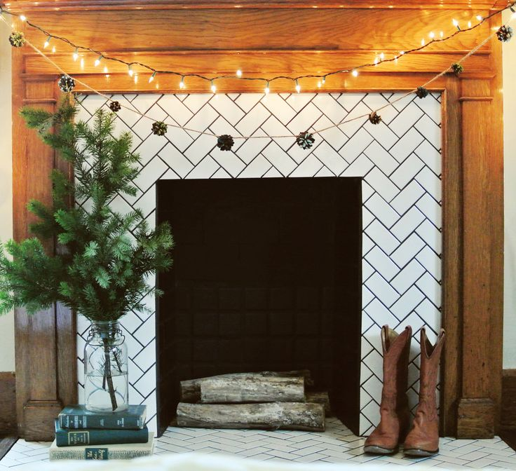 subway tile fireplace surround and mantel +DIY for pinecone garland | farm fresh therapy.jpg