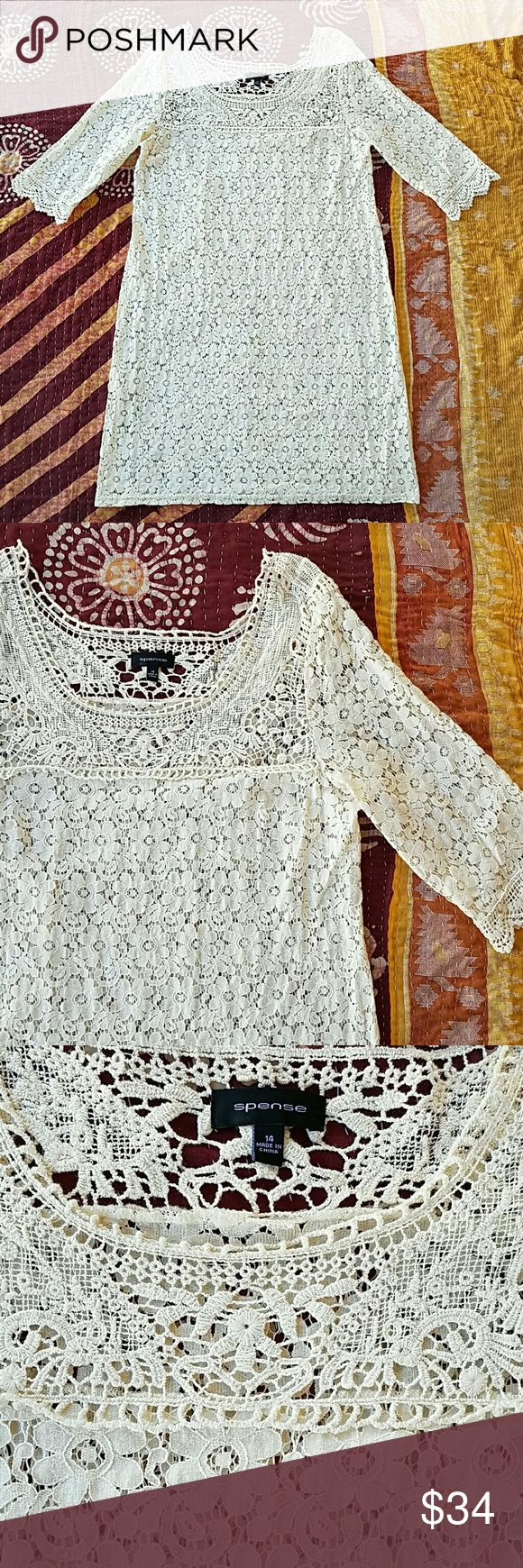 Spense Ivory Lace Crochet Shift Plus Size Dress 14 Pretty and feminine  Allover lace with crochet details Completely sheer, would need a slip 3/4 sleeves  Slightly fitted shift dress In good condition  Made by Spense size 14 Spense  Dresses Midi