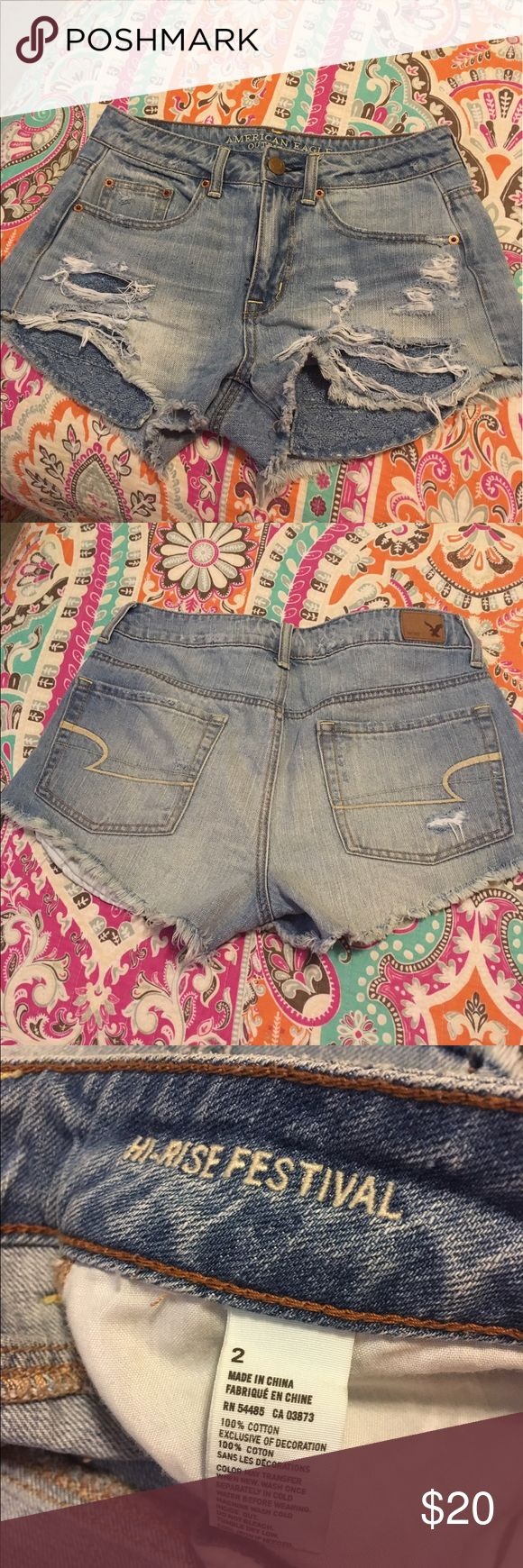 Like New American Eagle Jean shorts!! Like New American Eagle Jean shorts!! Size 2 Hi Rise Festival style. American Eagle Outfitters Jeans