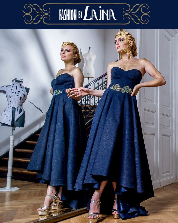 Brocard, carefully crafted waistline details, a dress in which you will always receive compliments.  ★ ★ ★   https://www.fashionbylaina.eu/shop-evening/dress-lateefa-navy-blue