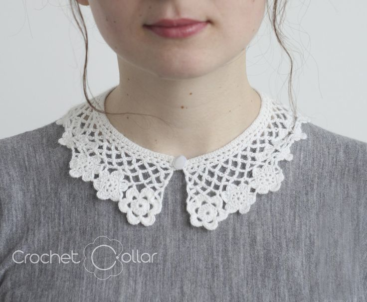 Flower Lace Crochet Collar Soft White Wool Removable Collar by CrochetCollars on Etsy