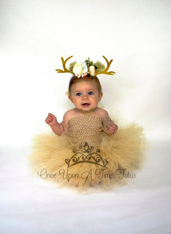 2d90c78d516a Tan Deer Tutu Dress - Little Girls Size Newborn 6 12 Months 2T 3T 4T ...