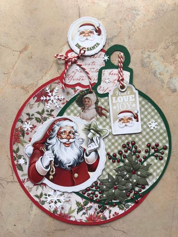 Pin Van Peter Op Dutch Doobadoo Kerstbal Mal Christmas Cards Xmas