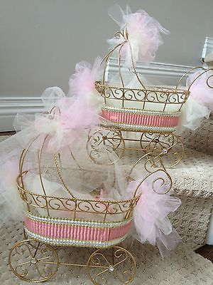 Details about wire baby carriages for baby shower table for Baby carriage decoration