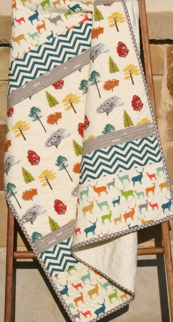 Baby Quilt, Modern Blanket, Nursery Bedding, Birch Organic Fabrics, Crib Quilt Decor, Trees Elk Deer Woodland Low Volume Chevron Forest by SunnysideDesigns2