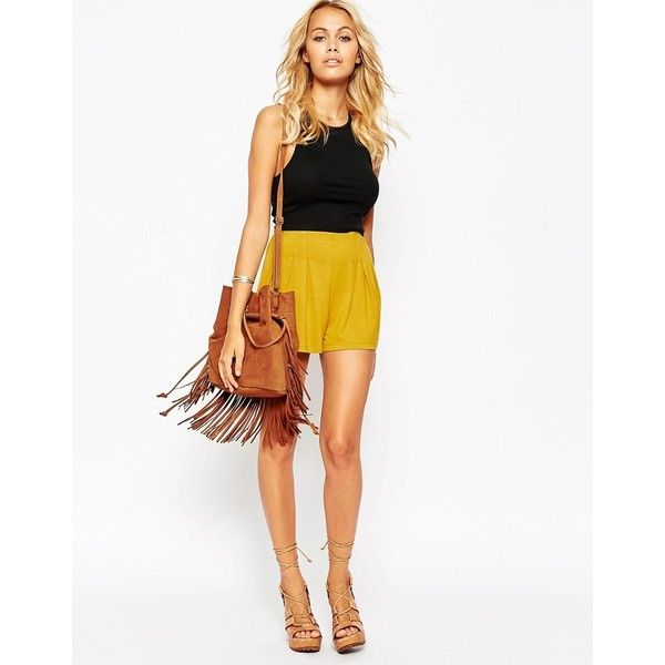 ASOS Pleated Culotte Shorts ($18) ❤ liked on Polyvore featuring shorts, mustard, asos shorts, tall shorts, asos, culottes shorts and lightweight shorts