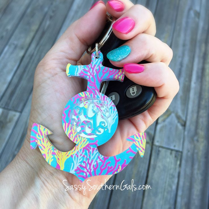 Monogrammed Anchor Keychain in Reef Pattern. The perfect monogrammed car accessory for the Lilly Pulitzer lover in your life. www.SassySouthernGals.com - Monogrammed Gifts & Accessories