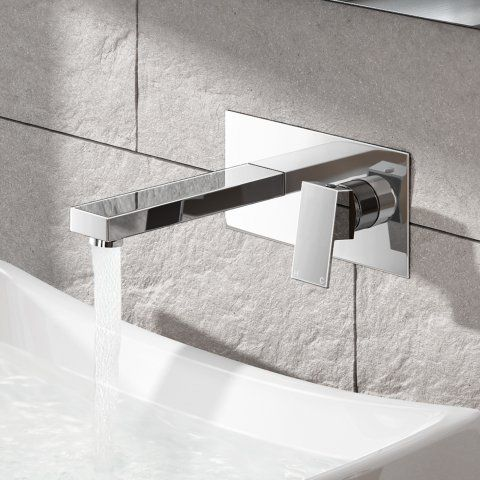 Canim II Wall Mounted Basin Mixer Tap - soak.com Centred nozzle to the sink