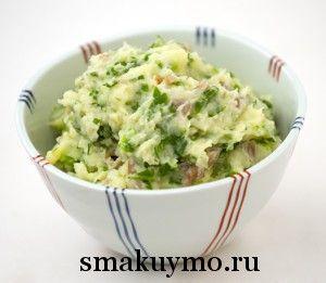 Картофельное пюре со шпинатом и чесноком