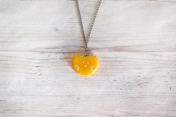 Gatto arancione collana moderno porcellana fredda elegante geometrica collane per donna amanti gatti collane lunghe gioielli fashion