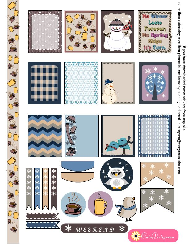 Free Printable Winter Sticker Sampler Kit for Erin Condren Life Planner ECLP {also available for the Happy Planner}