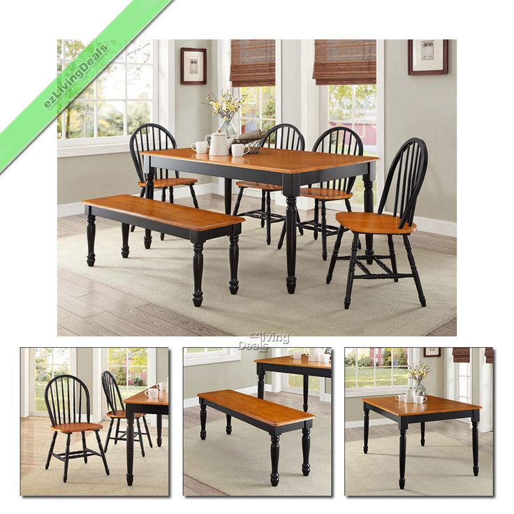 Details about 6-Pc Farmhouse Dining Set Table Bench Chairs Wood Windsor  Country Sets Black Oak