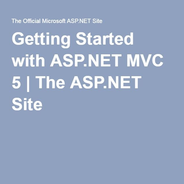Getting Started with ASP.NET MVC 5 | The ASP.NET Site