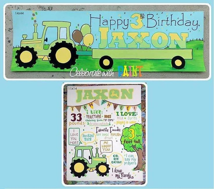 Green & yellow #tractors for this little guy! All items are individually hand-painted, not printed. Follow #CelebrateWithPaint on Facebook!  #Handpainted #Art #Paint #IMadeThis #PartyDecorations #Decorations #PartyDecor #KidsParties #ThirdBirthday #BirthdayParty #BirthdayPartyDecor #JohnDeere #BirthdayStats #Keepsake #IMadeThat #Banners #PartyBanner #Handlettering #Lettering #maker #MakersGonnaMake #DIY