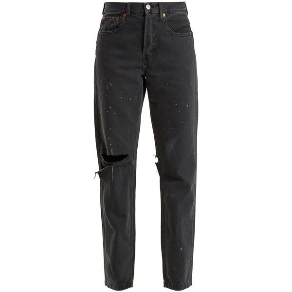 Re/Done Originals Grunge high-rise straight-leg distressed jeans (€270) ❤ liked on Polyvore featuring jeans, pants, black, relaxed straight jeans, high rise jeans, relaxed straight leg jeans, high-waisted jeans and high rise ripped jeans