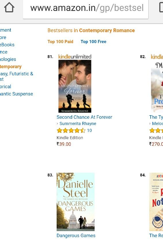 #SecondChanceAtForever cosy with Danielle Steele at #81 in contemporary romance #bestsellers https://www.amazon.com/dp/B01IE40CTM