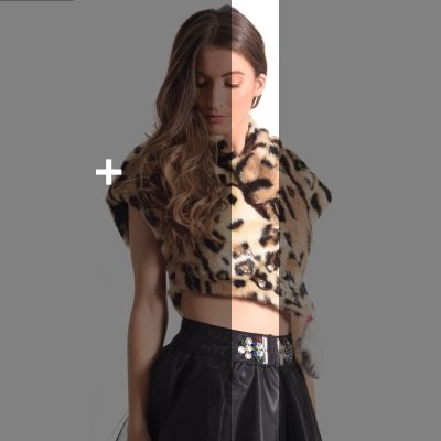 OUTWEAR C-THROU | Cropped Faux Fur Jacket +EVENING OR PARTY +FAUX FUR +ANIMAL PRINT +CLEAN BY SPECIALIST +MADE IN GREECE