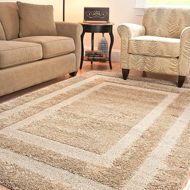 This Hand Woven Beige Shag Rug Features Alternating Concentric Hues And Pile Heights That Give It Both Visual Tactile Texture