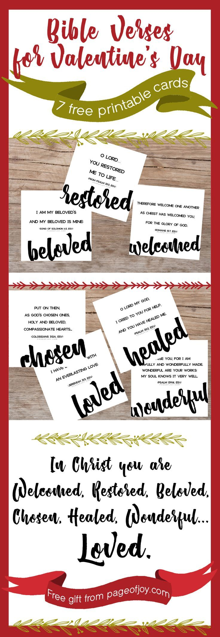 FREE printable Valentine's Day cards from page of Joy! Perfect cards for kids, friends, him... These cards remind you of who you are in Christ! Single, widowed, divorced or married- be encouraged this valentines day. God loves YOU! Grab these free cards and be encouraged. Share them with teachers and classrooms too! Great for teens and pre-teens too. Happy valentines day! ♥️