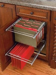 """Two-Tier File Drawer System with F/E slides. Two-Tier Chrome Hanging File Drawer System with full extension slides. This sturdy file drawer kit has chrome plated rails and an adjustable rear bracket which can accommodate both legal and letter size folders. Turns your standard height base 18"""" Door/Drawer Cabinet into a Two-Tier File Cabinet. Organize important paperwork in a cabinet without the hassle of accommodating a bulky/unattractive metal file cabinet into your design."""
