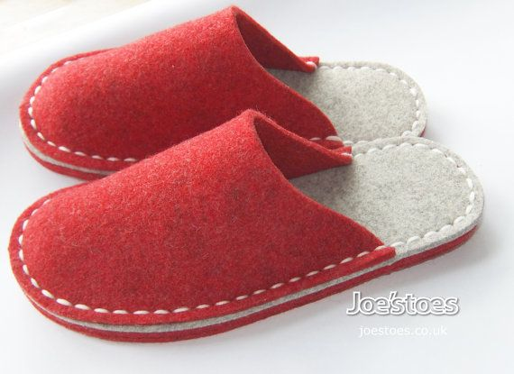 My simple eco friendly slippers are completely hand-sewn in Yorkshire, England. Using woollen felt and strong merino yarn. I offer many variations on