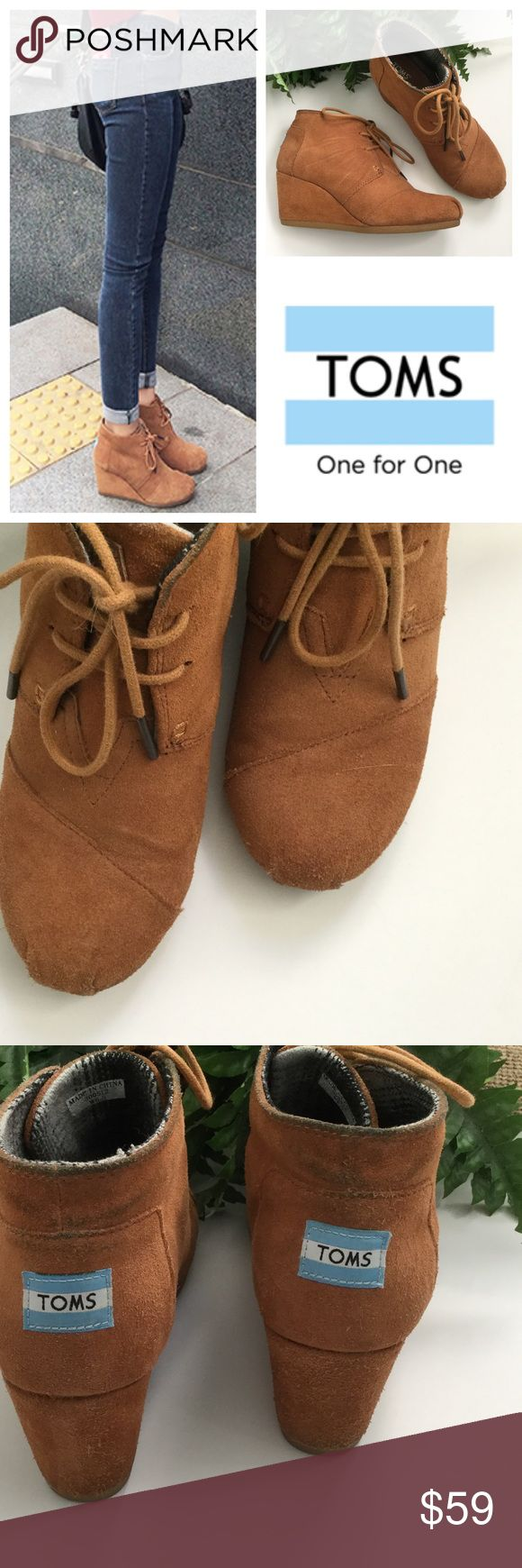 TOMS Chestnut Desert Wedge Bootie Good used condition... few signs of wear most notable denim stains on back as shown in 3rd pic. Look really, really cute with jeans and are very comfortable. Ask questions before purchasing. TOMS Shoes Ankle Boots & Booties