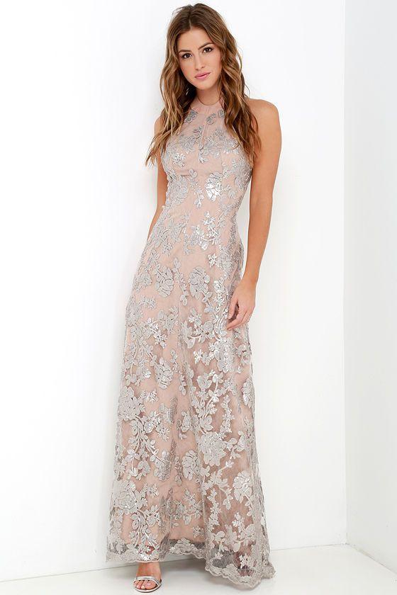 Dress the Population Valentina Silver Sequin Maxi Dress