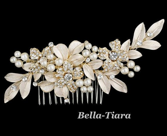 gold champagne bridal hair comb wedding crystal by BellaTiaraLLC