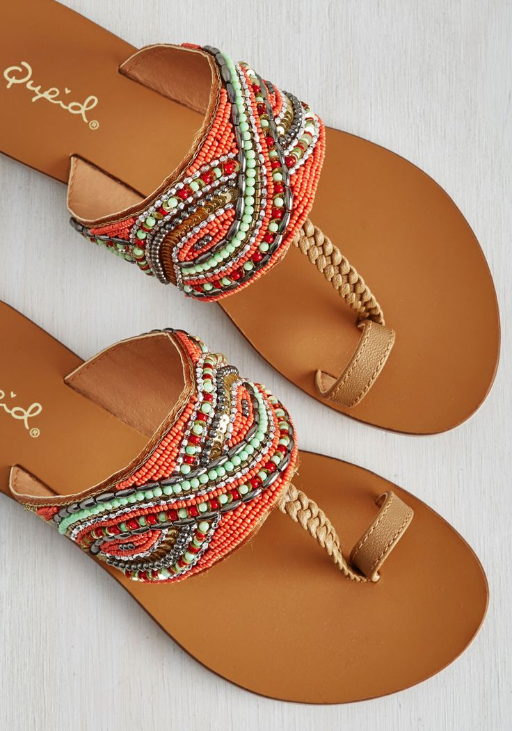 Hasta la Vista, Beachy Sandal. Though the toes of these light brown sandals are pointed toward home, their braided T-straps and bedazzled bands make everywhere feel as blissful as the beach! #multi #modcloth