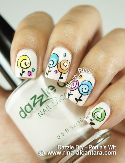 Happy Mothers Day Nail Art Design on Dazzle Dry Portias Wit
