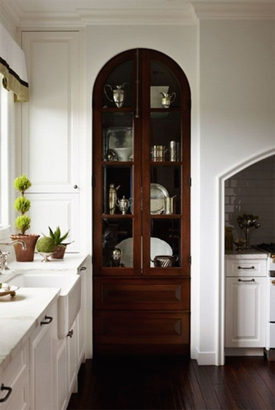 Built In Arch Door Cabinet. Dark Stain Really Makes This Pop Against The  Light Wall Color. Glass Doors On Upper Portion Provide That Much More  Interest To ...