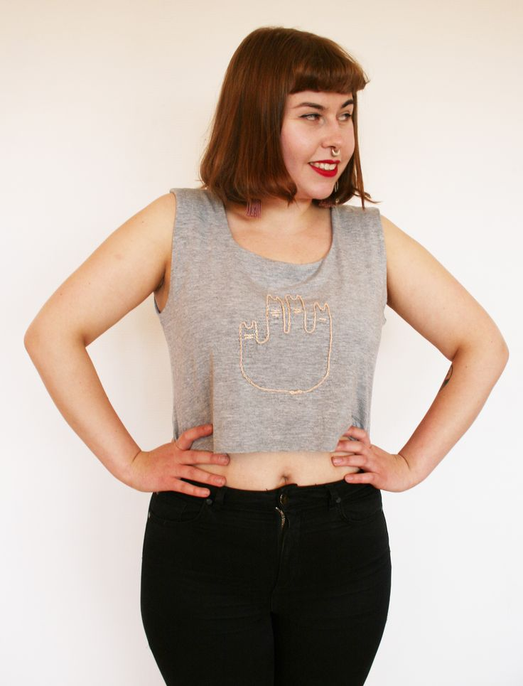 Hand embroidered second hand crop top by Pimped Rägs