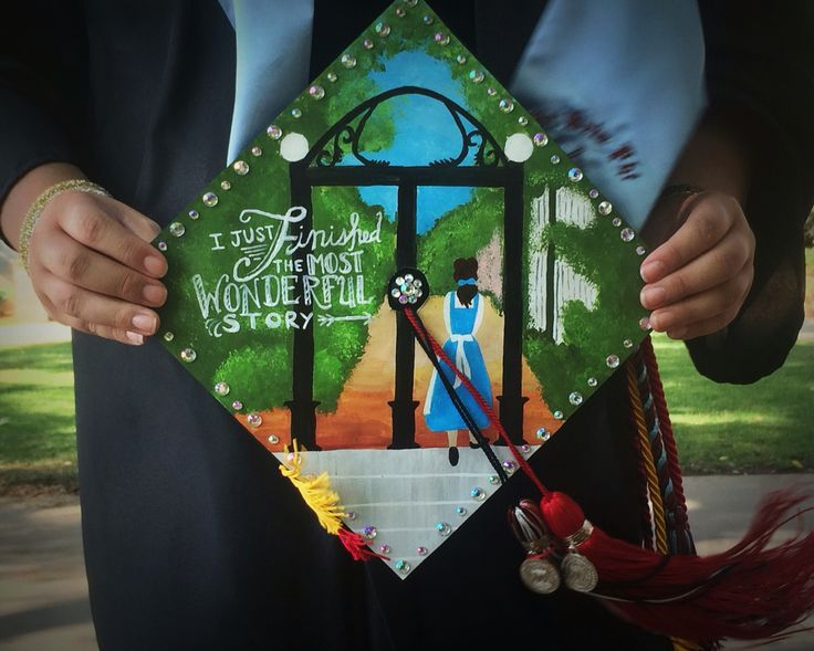 """Disney UGA arch painted graduation cap.   """"I just finished the most wonderful story!"""" -Belle"""