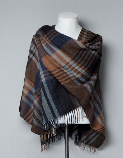HOODED CHECKED PONCHO - Scarves and Foulards - Accessories - Man - ZARA