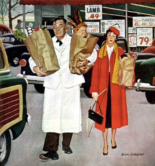 A Hard Day at the Supermarket - art by Dick Sargent, detail from Saturday Evening Post cover - May 14, 1956