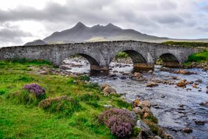 Bridge on Sligachan with Cuillins Hills in the background, Scotl. Isle of Skye tour from Inverness. Love this itinerary.