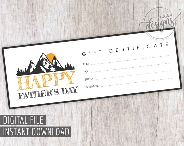 Fathers day gift certificate nature hiking printable