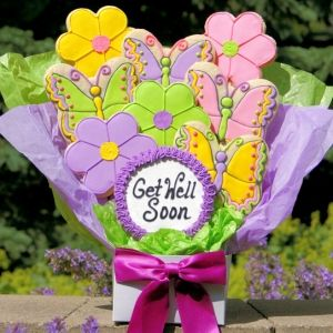 Get Well Flowers & Butterflies Cookie Arrangement | Purchase from Gourmet Cookie Bouquets  ( http://www.gourmet-cookie-bouquets.com/get_well_flowers_butterflies_cookie_arrangement.html)