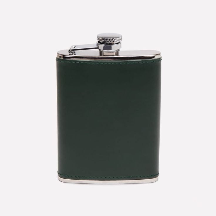 Ettinger London – Luxury Leather Goods –  6oz Captive Top Flask in Green
