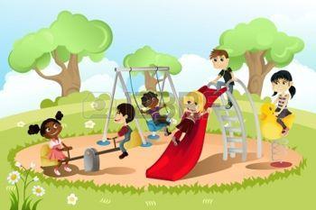 enfants qui jouent: Une illustration de vecteur d'un groupe de multi-ethnique des enfants jouant dans la cour de récréation Illustration