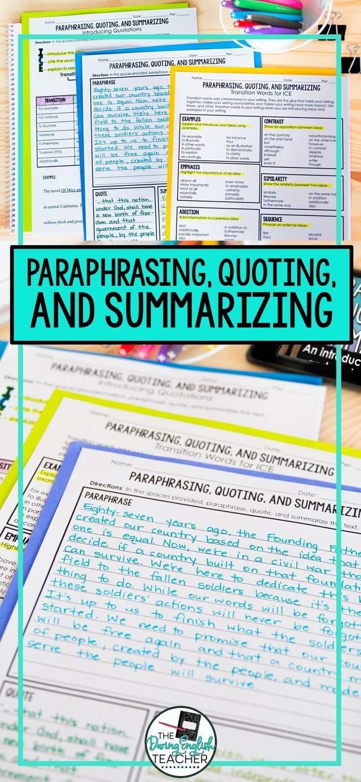 Paraphrasing Quoting And Summarizing Writing Lesson Middle School Teaching Practice Worksheet