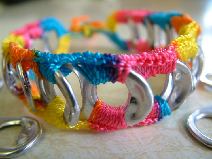 ReCycladelic Pop Top Bracelet - Bubble Gum, After the Rain, Caribbean Blue,  or Pinwheel Bright. $5.70, via Etsy.