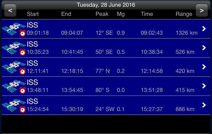 #ISS Schedule for Bexhill for June 2016