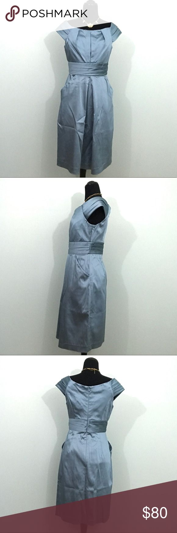 "Kay Unger Dusty Sateen Pleat Waist Formal Dress Kay Unger New York SZ 6 Dusty Blue Sateen Pleat Waist Formal Dress with Pockets  *Excellent Used Condition!  Measurements: 32"" Bust 28"" Waist 38"" Length Kay Unger Dresses"