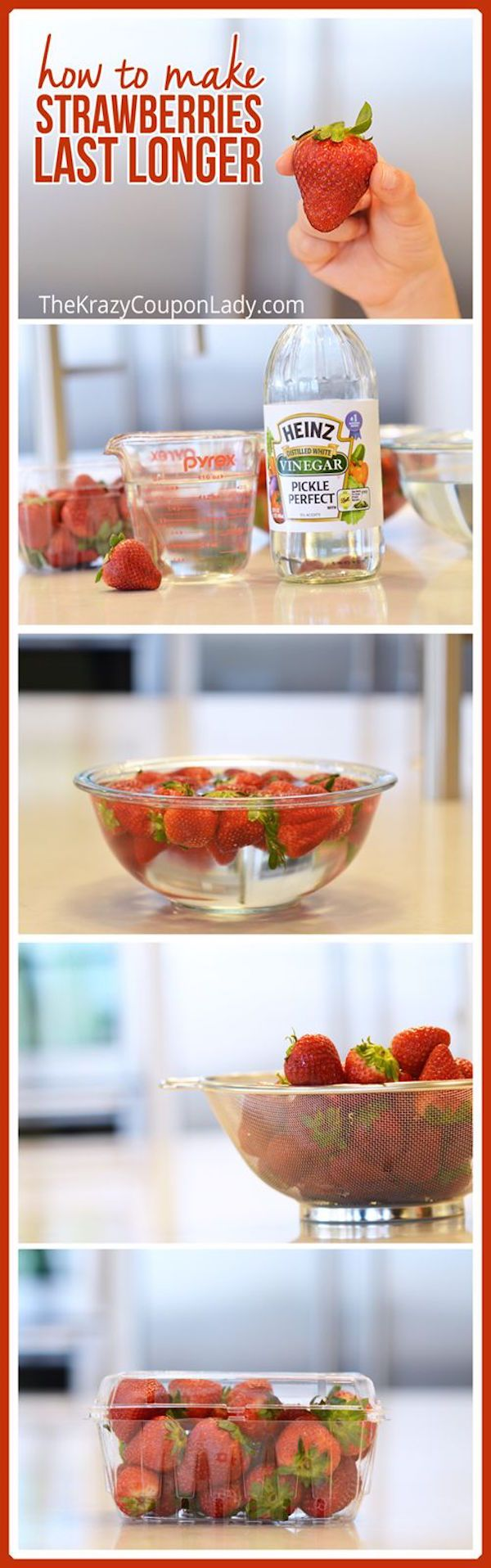 How to make strawberries last longer - 3 cups water, 1 cup vinegar, soak 10 minutes, dry COMPLETELY - vinegar taste disappears only if completely dry - pack back in original breathable container. Extends life at least 2-3 days.