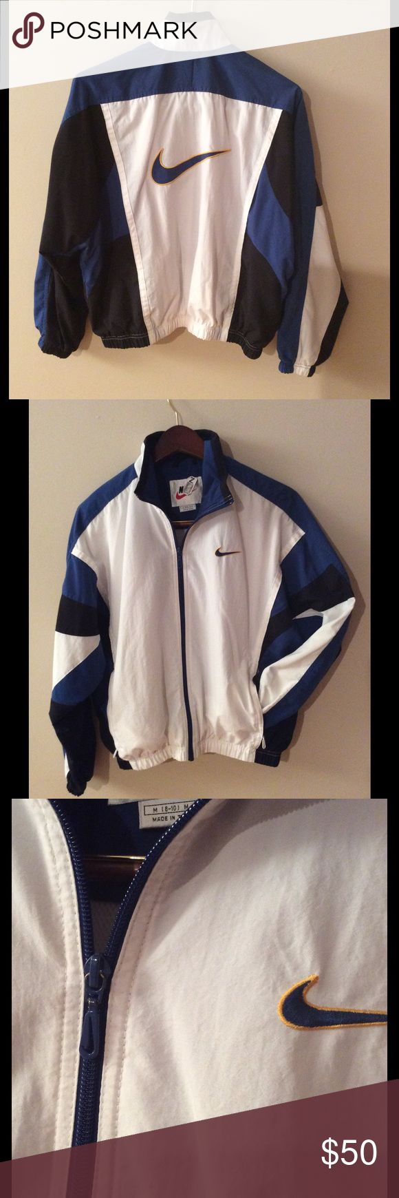 Vintage Nike Jacket Size Small  Vintage Nike Jacket. Great condition. Boys Size Medium (Fits like a women's Size Small). Slight wear on the inside of the zipper shown in pics, otherwise in great condition! Has been dry cleaned! Awesome jacket.  Nike Jackets & Coats
