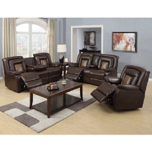 Two Tone Brown Reclining Sofa Loveseat Chair 3pc Set