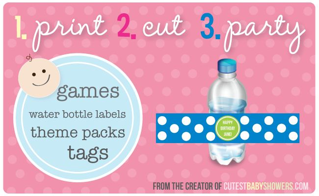 Printable Baby Shower Games Water Bottles Labels Candy Wrappers